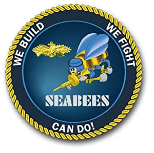 "Six Pack of 3.8"" US Navy Seabees Officer Decal Sticker by MilitaryBest"