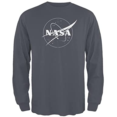 a0d151a87bcd23 NASA Outline Logo Mens Long Sleeve T Shirt Charcoal X-LG  Amazon.co.uk   Clothing