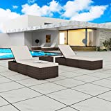 Festnight Set of 2 Outdoor Patio Chaise Lounge Sun Loungers with Table Poly Rattan