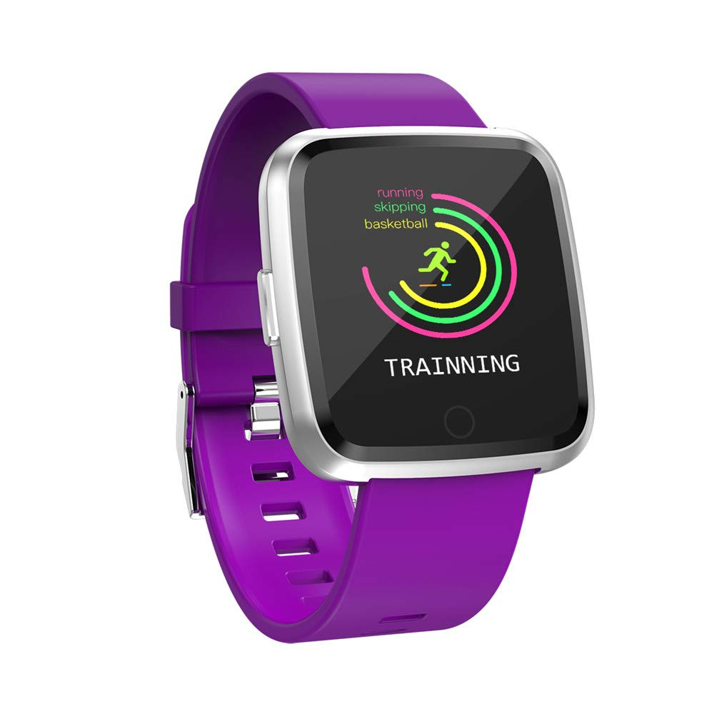Boens Sports Band, Business Steel Belt Strap Smart Watch Multi Sports Functions Heart Rate Monitor Blood Pressure Blood Oxygen Real Time Reminder Fits iPhone 9 Samsung S9+ (Purple) by Boens