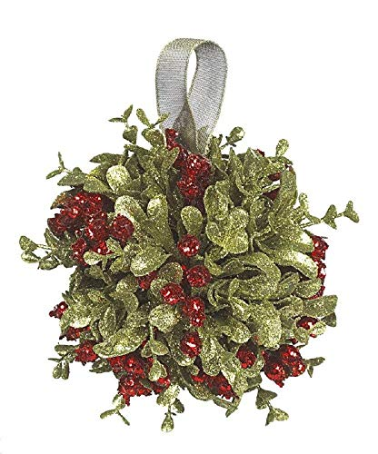 (Ganz 5 Inch Mistletoe Kissing Ball Ornament,Red,5