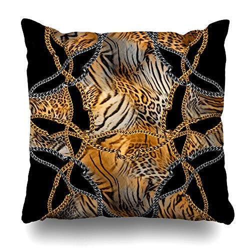 Kutita Decorativepillows Covers 18 x 18 inch Throw Pillow Covers, Golden Chain Pattern Double-Sided Decorative Home Decor Pillowcase Sofa Bedroom Car - Golden Baroque Chain 50