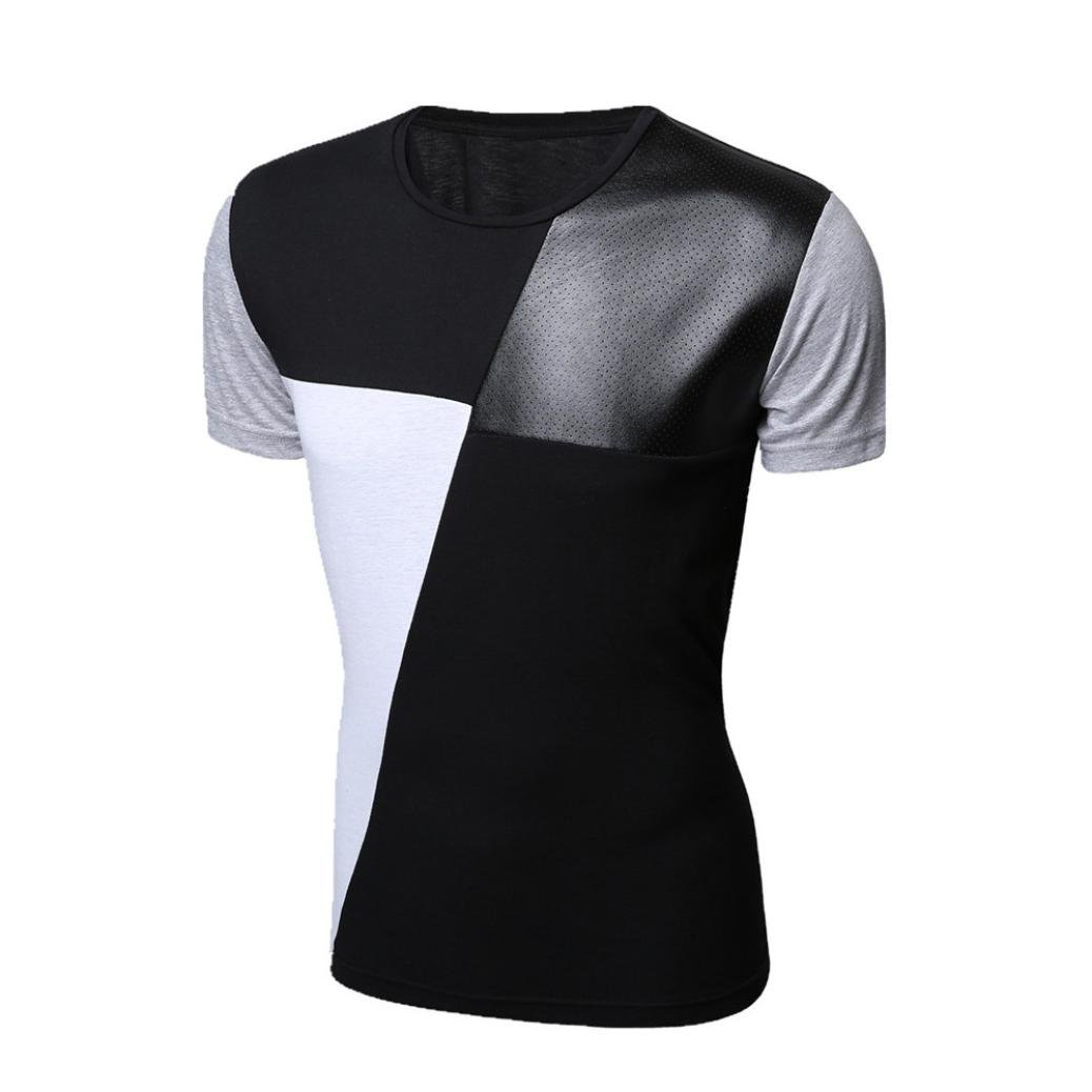 f418229f Top2: Paymenow Clearance Mens Fashion T Shirts Casual Short Sleeve Splice  Tee Slim Fit Crew Neck Tops