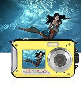 Underwater Camera Full Hd 1080P Waterproof Digital Camera 24.0MP Underwater Digital Camera Dual Screen Point and Shoot Waterproof Camera (E1) by COMI