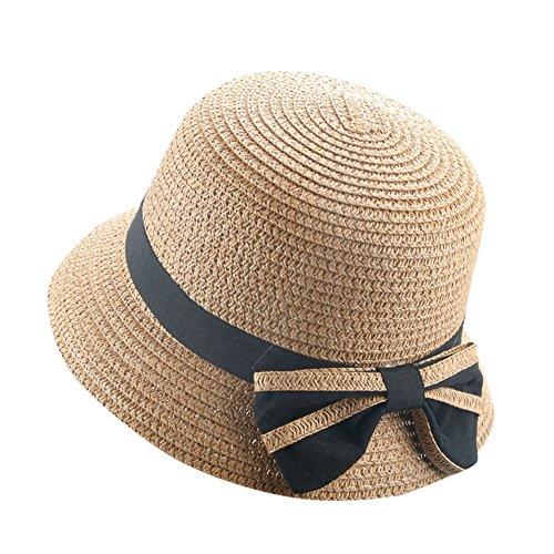 Baby Girl Summer Straw Hat Beach Sun Hats for Children Kids Breathable Wide Brim Floppy Caps (one Size, Coffee)