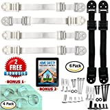 Furniture and Tv Anti Tip Straps - Heavy Duty Wall Anchor for Baby Proofing Dresser, Bookshelf, Bookcase - Earthquake Proof Anchoring Kit - 6 Pack White and Black - Free 4 Corner Guards and ebook