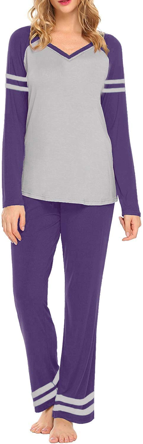 AOVXO Soft Pajama Set for Women Casual V-Neck Long Sleeve Loose Loungewear Set Long Sleeve Tops & Long Sleep Pants with Pockets Loungewear (Purple with Grey, XXL)