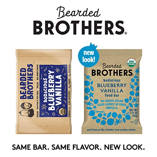 Bearded Brothers Vegan Organic Energy Bar | Gluten Free, Paleo and Whole 30 | Soy Free, Non GMO, Low Glycemic, Packed with Protein, Fiber + Whole Foods | Blueberry Vanilla | 12 Pack