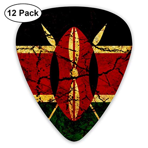 MEILVWEN Kenya Flag Guitar Picks Gift Set(16 Pack Includes Thin Medium Heavy) for Electric Classic Bass and Acoustic Guitars