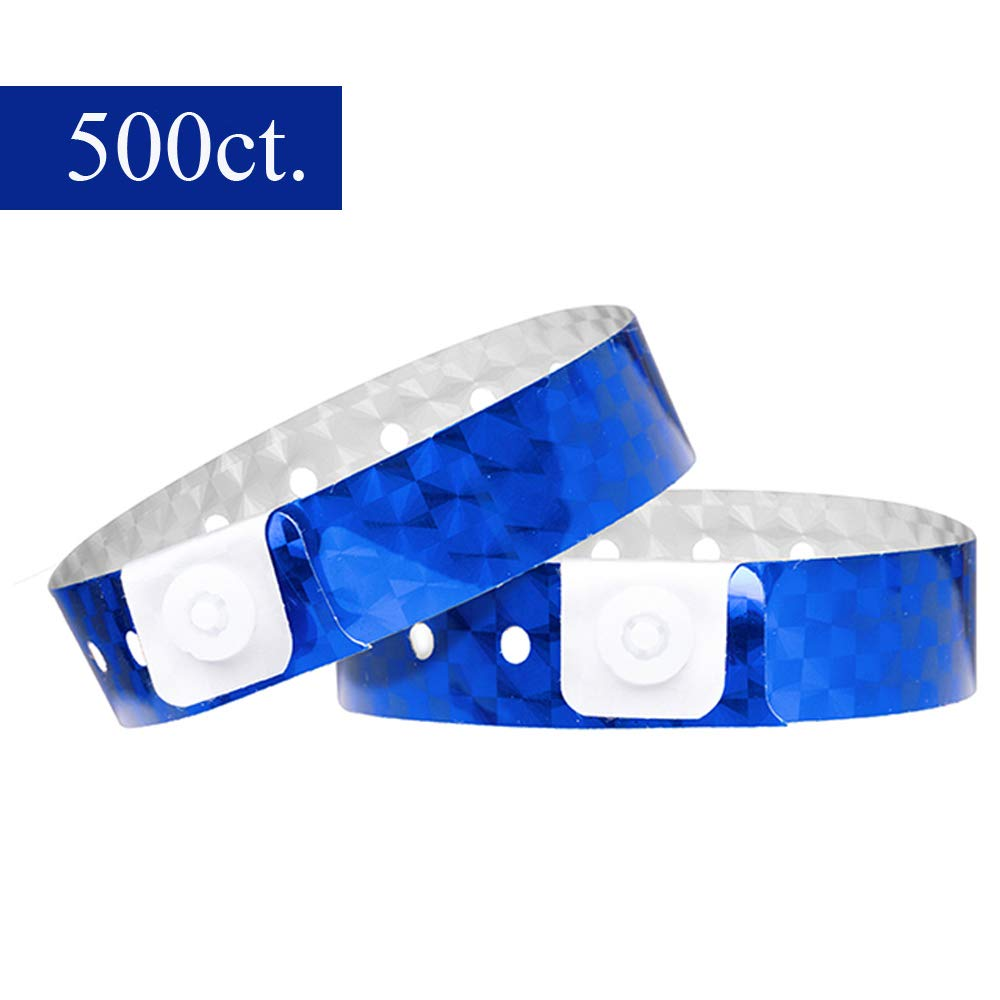 Ouchan Holographic Plastic Party Wristbands Blue - 500 Pack Vinyl Wristbands for Events Club Music Meeting by OUCHAN