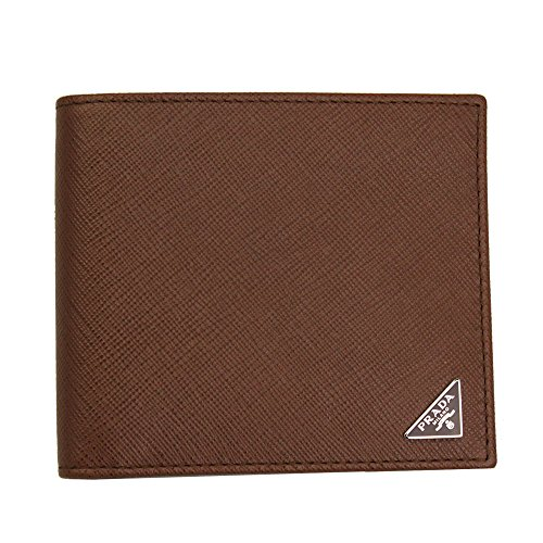 Prada Men's Saffiano Leather W/Triangle Logos Bi-fold Wallet 2MO513 Palissandro