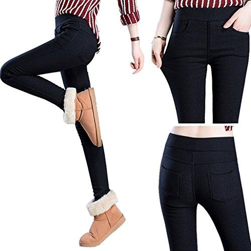 4f695046deb7b GUOLEZEEV Womens Fleece Lined Leggings Elastic Waist Thick Black Pencil  Pants Tights with Pockets