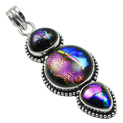 SIlVERART Genuine Cabochon Dichroic Glass 925 Silver Plated (High Polished) (Dichroic Glass Necklace)