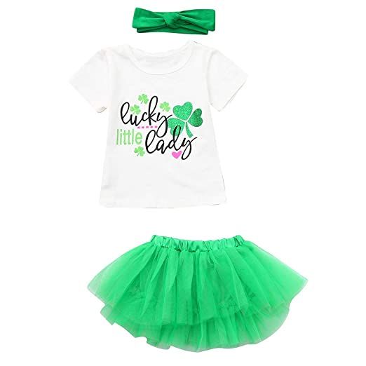 cabd3cccedf01 Amazon.com: Toddler Baby Girls St. Patrick's Day Outfits Sets, Kaicran  Short Sleeve Letter Print Top + Skirt +Headbands 3Pcs Clothes Sets: Clothing