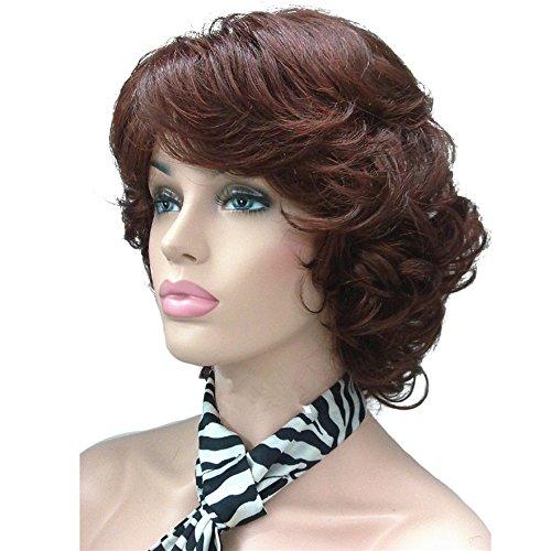 Dark Auburn Wig (Aimole Short Curly Wig Synthetic Hair Women's Full Wigs 33A-Dark Auburn)