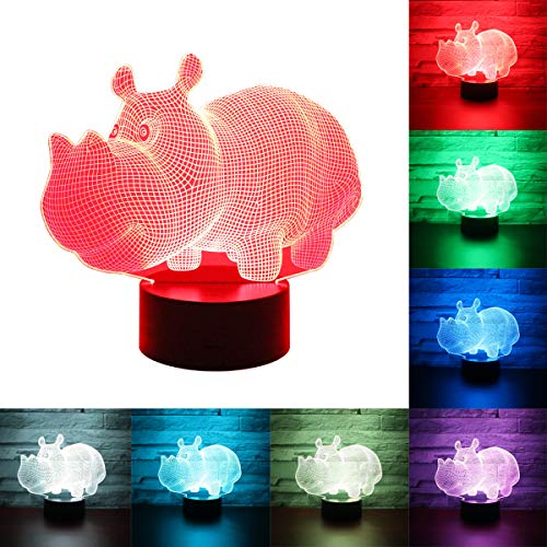 Hguangs Night Light for Hippo Gift Desk Table Light 7 Colors Changing Touch Control Christmas Birthday Valentine's Day -