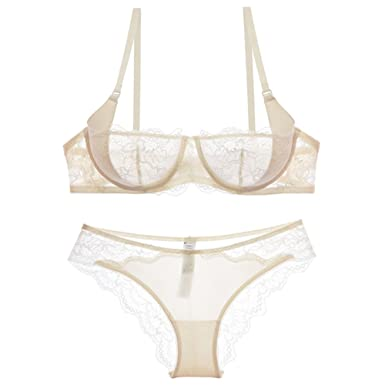f0a9cbd860 Varsbaby Women See-Though Non Padding Underwire Lace Sheer Bra and Panties  Sets(V388TM