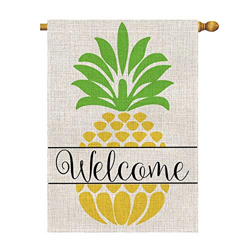 BLKWHT Pineapple Welcome Large House Flag Vertical Double Sided 28 x 40 Inch Summer Yard Outdoor Decor (Pineapple Welcome House)
