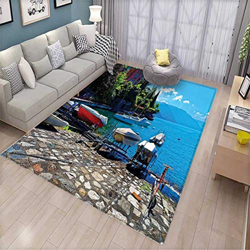 Coastal Room Home Bedroom Carpet Floor Mat Italian Harbor in Verena with Fishing and Sail Boats European Sea Town Picture Floor Mat Pattern Multicolor