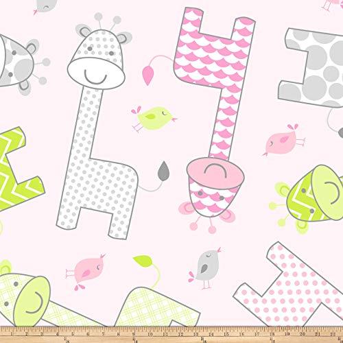 David Textiles Prints Baby Giraffe Fleece Pink Fabric by The Yard