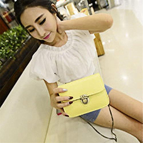 Lovely bolsas, brezeh chica cuero de la PU Mini pequeño hombro bolsa bolso, rosa amarillo