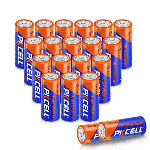 PKCELL LR1 Alkaline Battery 1.5V N E90, Long Lasting, All-Purpose N Battery for Household and Business- 20Count