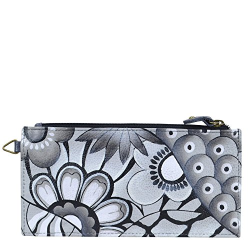Anna By Anuschka, Handpainted Leather Organizer Wallet,patchwork Pewter Credit Card Holder, PWP-PATCHWORK PEWTER, One Size by Anuschka