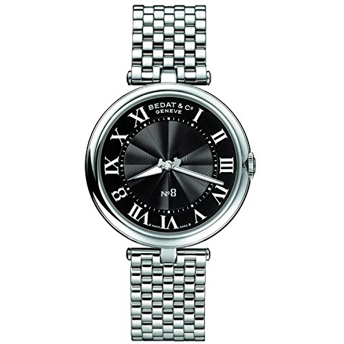 Bedat No (Bedat & Co Women's No.8 Diamond 36mm Steel Bracelet & Case Quartz Black Dial Analog Watch 823.011.300)