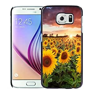 NEW Unique Custom Designed Samsung Galaxy S6 Phone Case With Sunflower Field Sunset_Black Phone Case