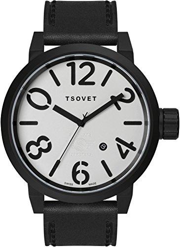 TSOVET Swiss LX330110-02 Men's Black BVD White Dial Stainless Steel Field Watch