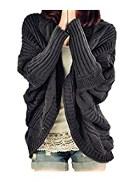 Women's Loose Knitted Cardigan Plus Size Batwing Sleeve Sweater