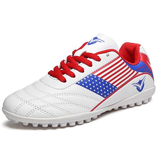 XING Lin Fußball Schuhe männlich und weiblich Kinder Training Schuhe Schüler Jungen Broken Nail Leder Fuß Künstliche Grassland Jugend Fußball Schuhe American white