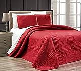 3-Piece BURGUNDY Oversize ''Stella Grande'' Bedspread KING / CAL KING Embossed Coverlet set 118 by 106-Inch