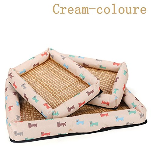 Cream-coloured 2XL Cream-coloured 2XL HOMCA Pet Dog Sofa Bed,Comfortable Two-Sided Cashmere Cushion Warm in Winter and Cool in Summer,Square Bed for Dog and Cat- Five Sizes are Available (2XL, Cream-Coloured)