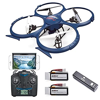 UDI U818A WiFi FPV RC Quadcopter Drone with HD Camera RTF - VR Headset Compatible - Headless Mode, Low Voltage Alarm, Gravity Induction - Includes BONUS BATTERY + Power Bank (Quadruples Flying Time) - FAA Registration NOT Required by Force1