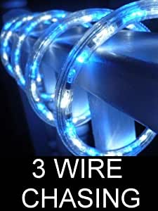 18FT OCEAN BLUE AND PURE WHITE 3 WIRE CHASING LED ROPE LIGHT KIT. CHRISTMAS LIGHTING. OUTDOOR ROPE LIGHTING