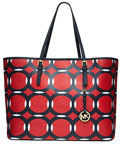 Michael Kors Medium Jet Set Deco Travel Tote - Mand/Navy/White by MICHAEL Michael Kors
