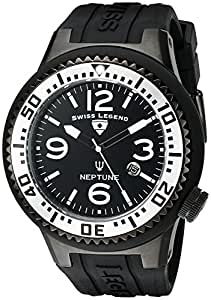 Swiss Legend Men's 21818P-BB-01-SA Neptune Black Dial Black Silicone Watch
