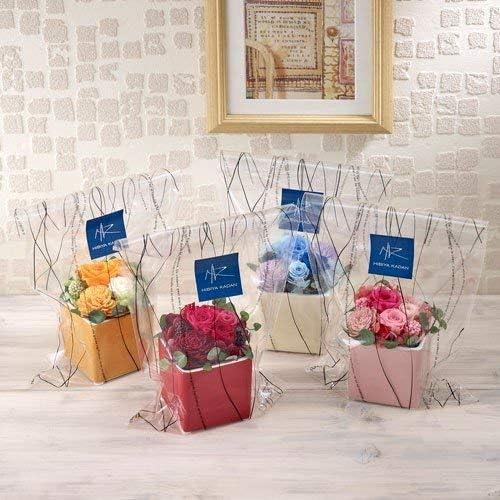 日比谷花壇 プリザーブド&アーティフィシャルアレンジメント「フラワーキューブ・オレンジ」ラッピング付き