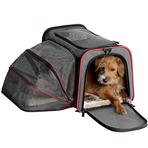 Petame Pet Carrier, Airline Approved Expandable Soft Sided Pet Travel Bag with 2 Expandable Mesh Windows/3 Open Doors Suit for Dogs/Cats/Puppy