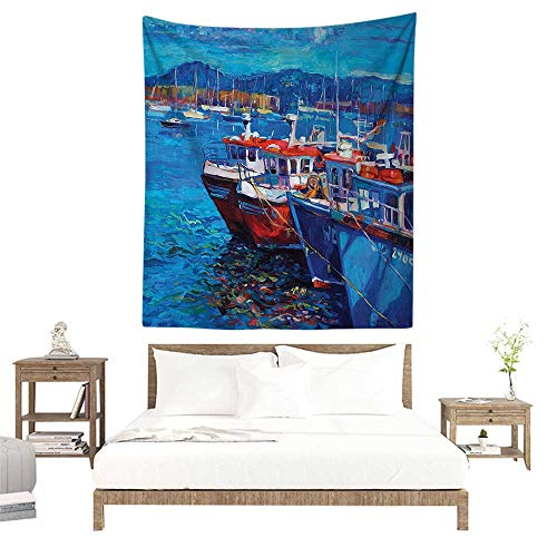 (alisoso Tapestry,Country Decor,Image of Sail Boats Ships On The Shore Harbor by The Sea Small Rural Fishing Town Art Work,Navy Red W47 x L47 inch Apartment Decor Collection)