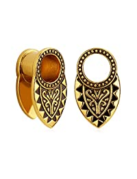 KUBOOZ(1 Pair) Vintage-art Style Brass Clip Ear Plugs Tunnels Gauges Stretcher Piercings