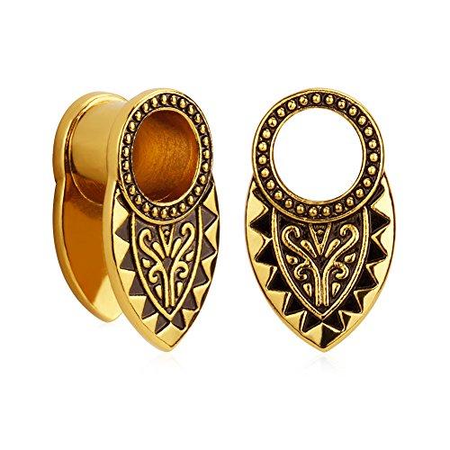 KUBOOZ(1 Pair Vintage-Art Style Brass Clip Ear Plugs Tunnels Gauges Stretcher Piercings ()