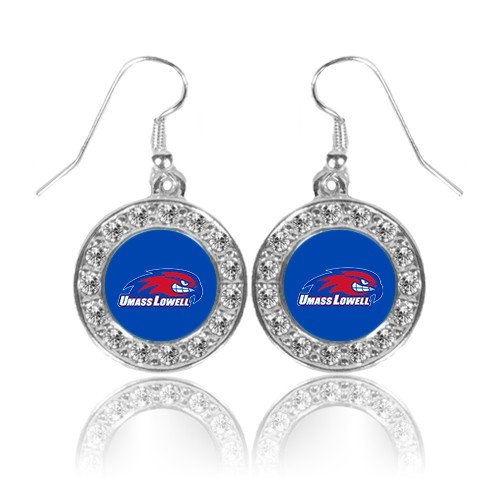 Logo Earrings Primary (UMass Lowell Crystal Studded Round Pendant Silver Dangle Earrings 'Primary Logo')
