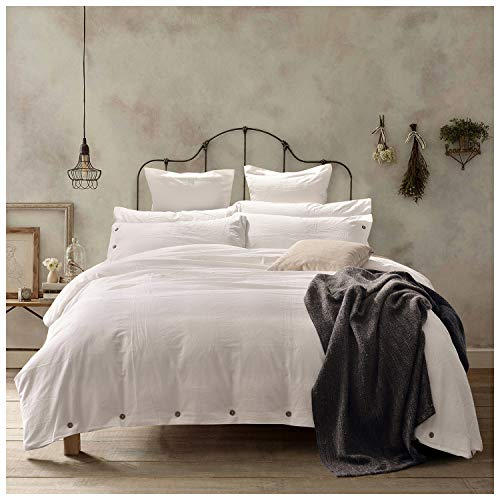 Doffapd Duvet Cover King, Washed Cotton Duvet Cover Set - 3 Piece (King, Off-White)