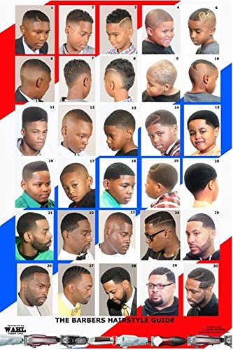 2014BBM Barber Poster w/30 Haircuts for Men & Boys
