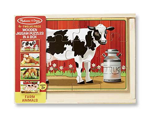 Melissa & Doug Farm Jigsaw Puzzles in a Box (Four Wooden Puzzles, Beautiful Artwork, Sturdy Wooden Storage Box, 48 Pieces, 8