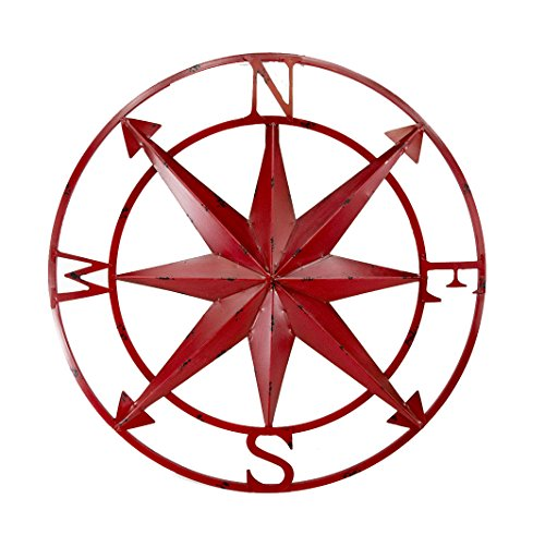Zeckos 20 Inch Diameter Distressed Red Finish Metal Compass Rose Wall Hanging