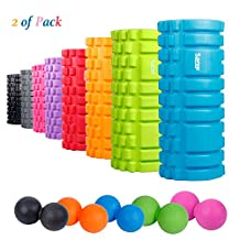 """Sfee Foam Roller with Massage Ball-13""""x5.5""""EVA Muscles Roller Set for Physical Therapy&Exercise,Deep Tissue,Trigger Point Muscle Myofascial Release,Pain Relief,Crossfit,Yoga with Instruction+Carry Bag"""