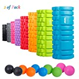"Sfee Foam Roller with Massage Ball-13""x5.5""EVA Muscles Roller Set for Physical Therapy&Exercise,Deep Tissue,Trigger Point Muscle Myofascial Release,Pain Relief,Crossfit,Yoga with Instruction+Carry Bag"